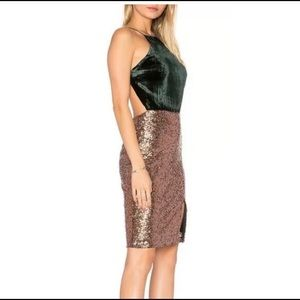 Gianni Bini Green & Gold sequin night out dress
